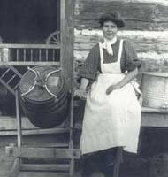 pioneer woman churning butter